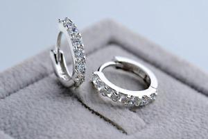 Crystal Cubic 925 Sterling Silver Plated Round Hinged Huggie Hoop Earrings Gloss