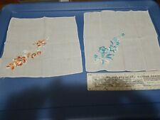 Lot of 2 Vintage Ladies Handkerchief, Embroidered Flower Bouquet, White 9""