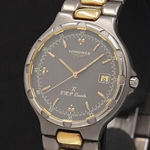 LONGINES Watch CONQUEST VHP Ti   Quartz Titanium 18K Gold Plated Date   T2725