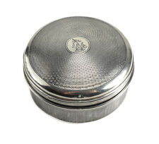 J'aime French 950 Silver & Glass Lined Powder Box, c1900