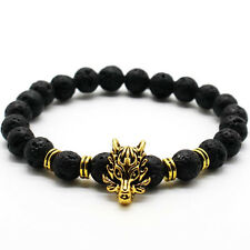 DF20 Natural Lava Stone Wolf Head Stretchable Bracelet