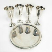 Leonard Silver Co Silver 5 Piece Wine Set 4 Goblets and Serving Tray No 757