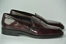 Todd Welsh Italy Mens 12 D Oxblood Polished Leather Slip On Dress Loafers NICE!!