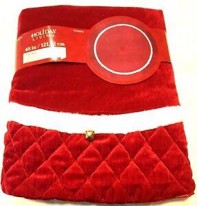 """Holiday Living 48"""" Plush Red Velvet Traditional Christmas Tree Skirt w/Bell. $60"""