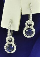 14k Solid White Gold Natural Diamond Blue Sapphire Earring 1.77 ct dangling halo