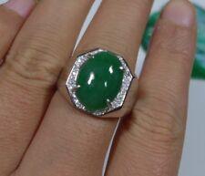 Cert'd Fine Natural A Emerald Jadeite Jade Big Oval Cabochon S925 Men's Ring