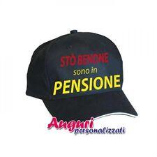 """Berrettino regalo auguri pensione """"Stò benone"""". pensionato,pensionata,pensioname"""