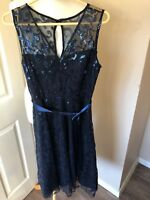M&Co Indigo Blue Sequin Lace Dress 10 UK Party  Pretty Xmas. RRP £59