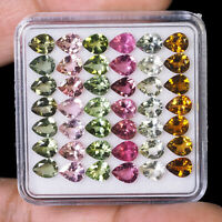 VVS Natural Tourmaline Multi Color 5mm/4mm 42 Pcs Pear Finest Quality Gemstones