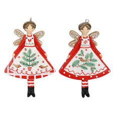 Two Resin Pixie / Nordic Yule Fairy / Angel Christmas Xmas Hanging Decorations