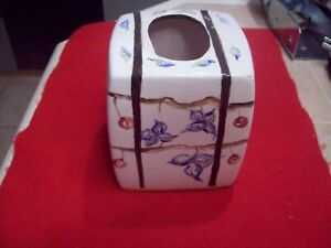 Ceramic Tissue Box Cover BROWN HAND Painted Ribbon Accents BLUE Flower Floral