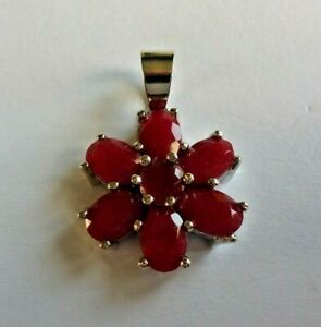 Pretty Flowers Real Red Ruby  Silver Pendant