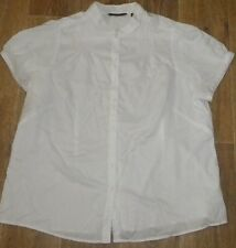 LISA HO 22 WHITE CAP SLEEVE MOCK COLLAR  BUTTON WORK PLEAT BLOUSE TOP SHIRT X3