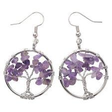 Natural Amethyst Dangle Hoop Earrings Handcraft Jewelry Gift Women Mom CAE01