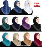 1 pc Rhinestone Slip On Hijab Womens Islamic Headcover Zalfa design Ramadan Hat