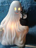 "NOS CERAMIC HALLOWEEN ""GHOST WITH OWL"" NIGHT LIGHT"