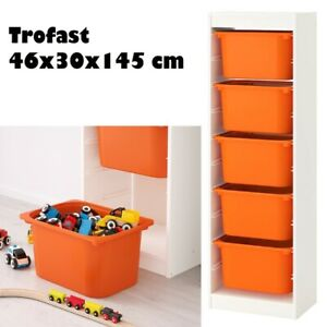 Ikea TROFAST Storage Combination With Childrens Play Plastic Boxes Orange