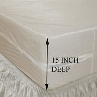 "15"" Deep Pocket Heavy Duty Vinyl Zippered Mattress Cover, Bed Bugs Protector"