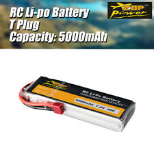ZOP Power 7.4V 5000mAh 40C 2S Lipo Battery T Plug Battery for RC Boat Drone Car