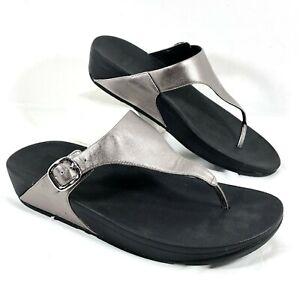 NEW Women's FitFlop Flip Flops Pewter Gray leather SKINNY Sz 11