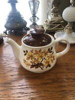 Contemporary Sadler Teapot Brown And White Autumn Leaf Design England 70s