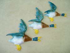 SET OF 3 FLYING WALL DUCKS,CAST IN STRONG STONE POWDER AIRBRUSHED & HAND PAINTED