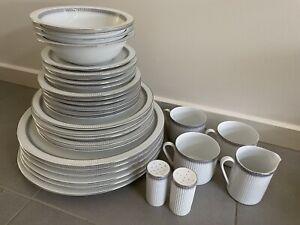 32 pc Vintage German Arzberg Ariadne White Dinner Set w silver edges
