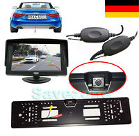 Funk 4 LED IR Rückfahrkamera Nummernschild 170° + 4,3 TFT LCD Auto KFZ Monitor
