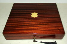 More details for handsome antique solid mahogany & brass table top box with key