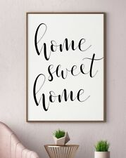 Home Sweet Home Typography Kitchen Quote Gallery Wall Art Poster Print Black
