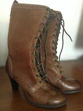 Naturalizer Explore Women Antique Brown Leather Biker Boots US 6.5/UK 4/EUR 37