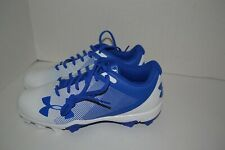NEW  White /BLUE Under Armour Molded Baseball  Cleats Low Cut      Size 7 1/2