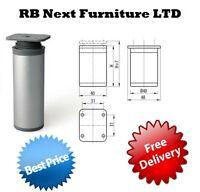 2 x Aluminium Legs Round Furniture Sofa Cabinet footstool side 60 100 150 mm