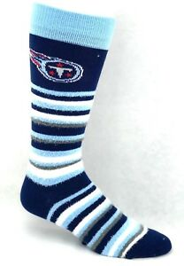Tennessee Titans Football Muchas Rayas Blue Striped Fuzzy Crew Socks