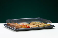 5 Black Rectangular Plastic Sandwich Platters with Clear Plastic Lids (Medium)