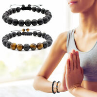 2 stücke Lava Rock Stein Armbänder für Ätherisches Öl Perlen Armband Armreif