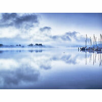Misty Lake Constance Large Canvas Wall Art Print