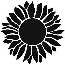 Sunflower Decal Cartoon Vinyl Sticker Macbook Laptop Car Window Black or white