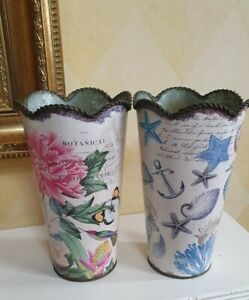 """Pair of """"Botanic Garden"""" & 'Nautical Seashore' Flower Metal Tin Cylinder Vases"""