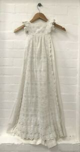 Antique Handmade White Cotton Christening Gown Broderie Analgise Dress (Nee)