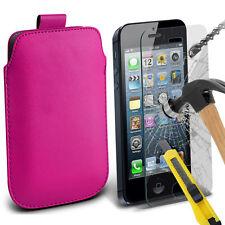 rosa acceso similpelle custodia pochette linguetta & vetro per Apple iPhone 5