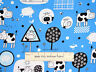 Cow Pig Chicken Blue Farm Animal Cotton Fabric Timeless Treasures By The Yard