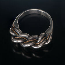 LATVIAN ethnic SILVER and GOLD  Closed Band NAMEJS RING from LATVIA