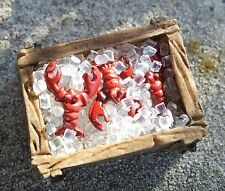 Crates of Maine Lobsters on Ice 9 Pc Set Miniatures 1/24 Scale G Scale Diorama