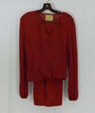 Lianne Von Fricht For Jane Vintage Red Sweater And Suede Skirt Set Medium