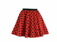 Childs Rock and Roll 50s Fancy Dress Grease Costume Polka Dot Skirt & Scarf Red With Black Spot M
