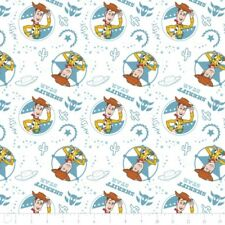 Disney Toy Story Woody Sheriff Star Cameo on White Cotton Fabric Fat Quarter