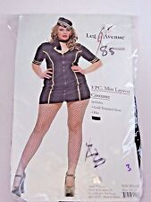 Plus Size 1X/2X Women's Stewardess Blue Cosplay Halloween Sexy Costume Party