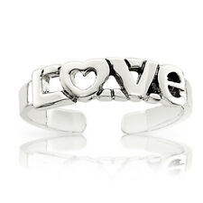 Ring - Casted and Polished Finish .925 Sterling Silver Antiqued Love Toe