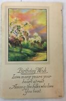 Vintage Birthday Wish Postcard Sunset Scenery Countryside 524 Unposted Message